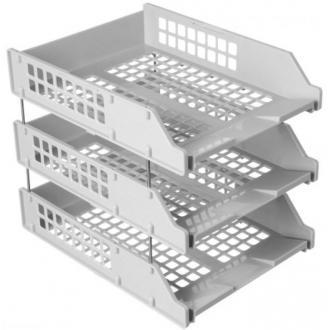 Набор из 3-х горизонтальных лотков СТАММ STRONG ЛТ111, на металлических стержнях, серый - Officedom (1)