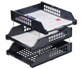 Набор из 3-х горизонтальных лотков СТАММ STRONG ЛТ112, на металлических стержнях, черный | OfficeDom.kz