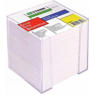 Бумага д/<wbr>заметок СТАММ ПВ41, 9х9х9 см, в прозр. подставке, белый - Officedom (1)
