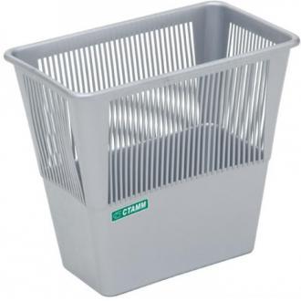 Корзина для бумаг сетчатая прямоугольная СТАММ КР32,12л, серый - Officedom (1)
