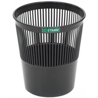 Корзина для бумаг сетчатая СТАММ КР21, 9л, черный - Officedom (1)