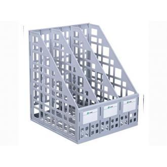 Лоток для документов вертикальный ЛТ80, 3-секционный, СТАММ, сборный, серый - Officedom (1)
