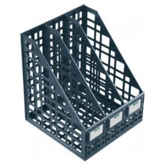 Лоток для документов вертикальный ЛТ81, 3-секционный, СТАММ, сборный, черный - Officedom (1)