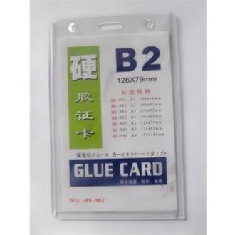 Бейдж вертикальный Glue Card B2, 126х79мм, прозрачный (HS-902) - Officedom (1)