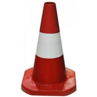 Конус дорожный, красно-белый, пластиковый - Officedom (1)