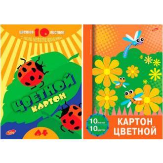Картон цветной, А4, 10л, 10цв. - Officedom (1)