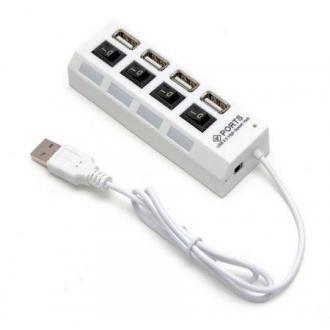 Расширитель USB Deluxe DUH4004WH, 2.0, на 4 порта, белый - Officedom (1)