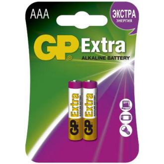 Батарейки GP Extra Alkaline, AAA/<wbr>LR03, 2 шт/<wbr>уп - Officedom (1)