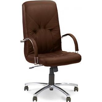 Кресло для руководителя MANAGER STEEL CHROME, SPA кожа, хромированная крестовина, черный - Officedom (1)