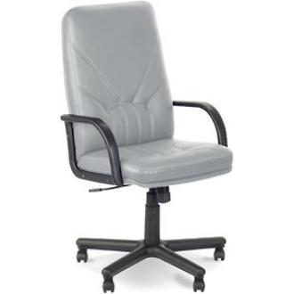 Кресло для руководителя MANAGER, SPA кожа, пластиковая крестовина, черный - Officedom (1)