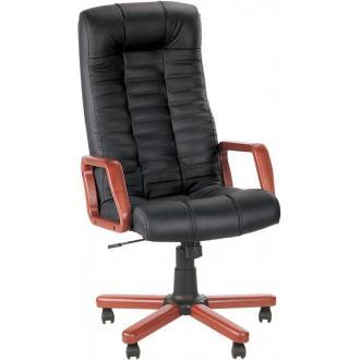 Кресло для руководителя ATLANT extra SP-A кожа, деревянные подлокотники, дерев. крестовина, черный - Officedom (1)