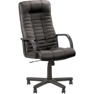 Кресло для руководителя ATLANT BX SP-A кожа, пластиков. подлокотники, пластик. крестовина, черный - Officedom (1)