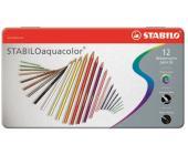 Карандаши цветные наточенные Stabilo Aquacolor 12 цв., в металлической коробке (1612-5) | OfficeDom.kz