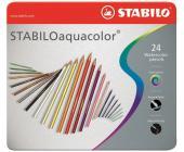 Карандаши цветные наточенные Stabilo Aquacolor 24 цв., в металлической коробке (1624-5) | OfficeDom.kz
