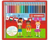 Карандаши цветные STABILO color (24шт) в металлической коробке | OfficeDom.kz