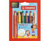 Карандаши цветные STABILO woody 3 in 1 (6шт + точилка) | OfficeDom.kz