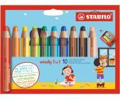 Карандаши цветные STABILO woody 3 in 1 (10шт + точилка) | OfficeDom.kz