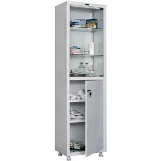 Шкаф металлический медицинский Hilfe 1650/<wbr>SG, 1655х500х320 мм, 4 полки, стекл. двери, 27 кг, белый - Officedom (1)