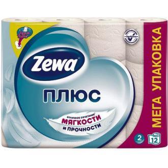 Бумага туалетная Zewa Плюс, 12 шт/<wbr>уп, 2 сл., белая - Officedom (1)