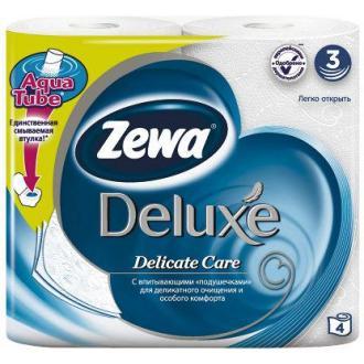 Бумага туалетная Zewa Deluxe, 4 шт/<wbr>уп., 3 сл., белая - Officedom (1)