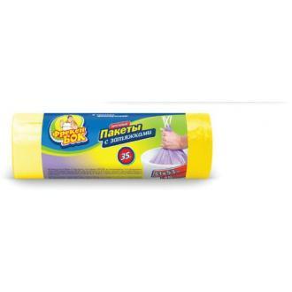 Мешки для мусора 35л.; 15шт/<wbr>уп с затяжками, прочные, желтый - Officedom (1)