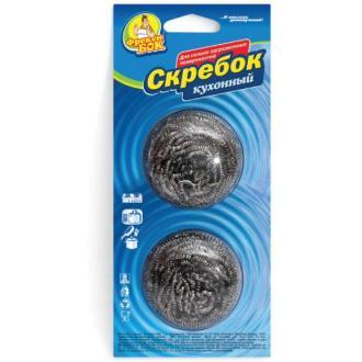 Губка спиральная д/<wbr>посуды Скребок металлическая, 2 шт/<wbr>уп - Officedom (1)