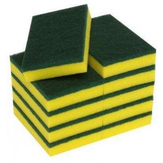 Губка с абразивом Зеленый/<wbr>желтый 140 x 90 x 30 10шт/<wbr>уп. (FE30560) - Officedom (1)