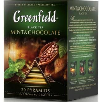 Чай черный Gf Mint & Chocolate со вкусом мяты ароматом темного шоколада, 20х1,8г, пирамидки - Officedom (1)